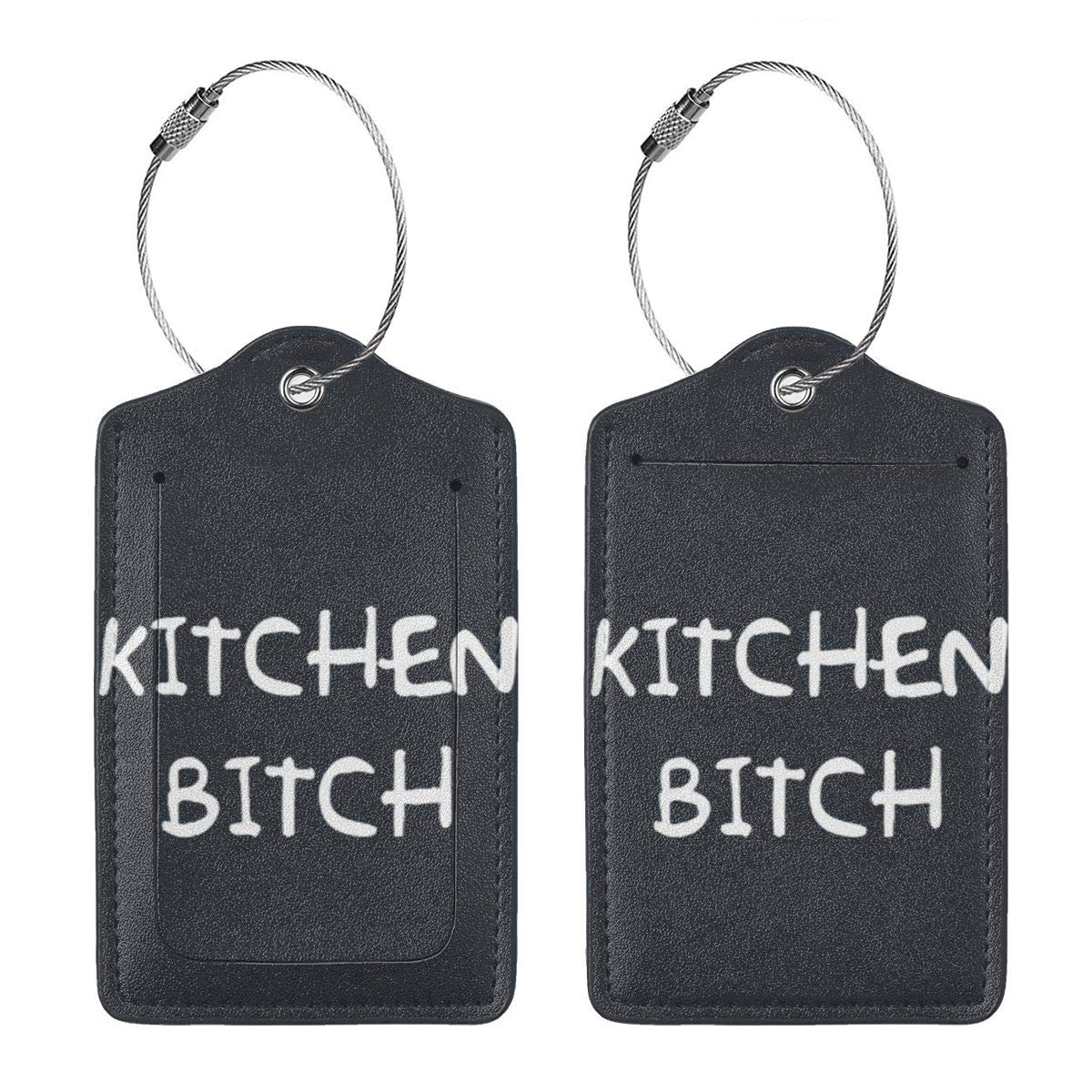 Kitchen Bitch Leather Luggage Tags Suitcase Tag Travel Bag Labels With Privacy Cover For Men Women 2 Pack 4 Pack
