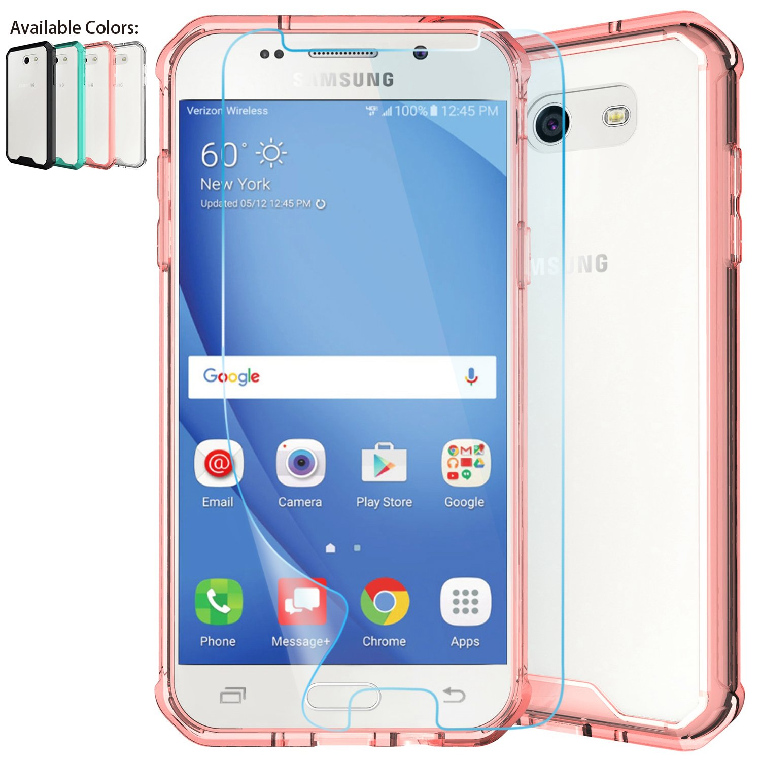 quality design bf5a0 bf4dc Galaxy J3 Emerge Clear Case,J3 Prime/J3 Mission/J3 Express Prime 2/J3  Eclipse/J3 Luna Pro/Sol 2/Amp Prime 2 Case w/Protector,NiuBox Armor  Absorption ...