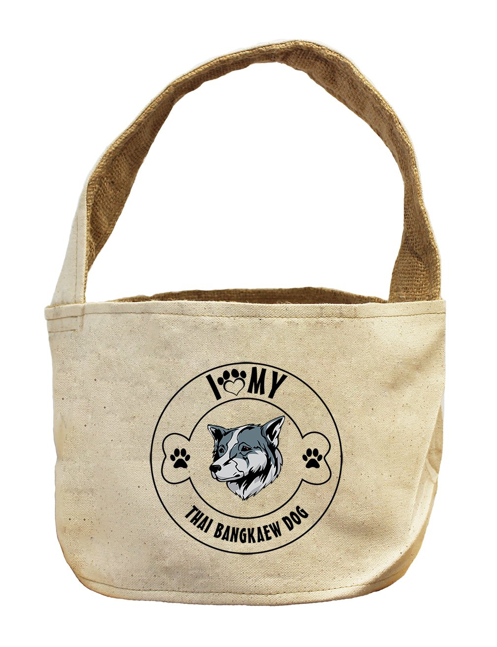 Style in Print Canvas/Burlap Storage Basket I Love Paw My Thai Bangkaew Dogdog by Style in Print