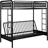 dhp rockstar metal bunk bed frame sturdy metal design twin over futon amazon    dhp twin over futon convertible couch and bed with      rh   amazon