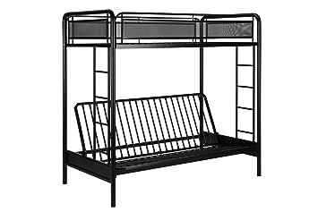 dhp rockstar metal bunk bed twin over futon   black amazon    dhp rockstar metal bunk bed twin over futon   black      rh   amazon