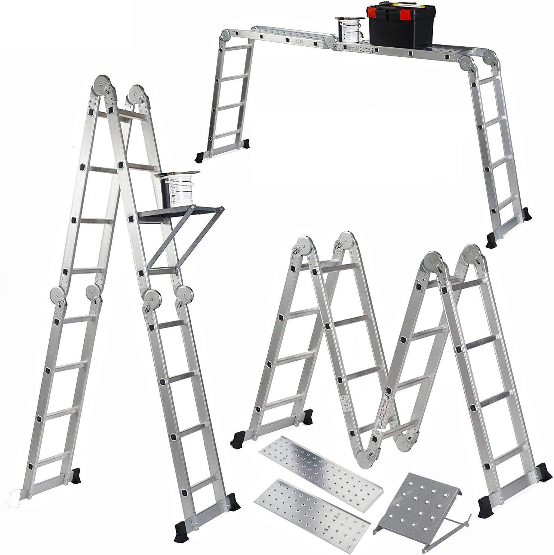Keraiz 6B-WDVW-DRCK 14 en 1-Escalera Plegable con 2 Placas de Trabajo y 1 Bandeja de Herramientas Fabricada según Las especificaciones de la Parte 1 y 2 de Stella, plata: Amazon.es: Bricolaje y herramientas