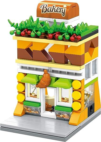 Building Blocks City Street Mini Brick LED Coffee Clothing Bakery Store Set//4PCS