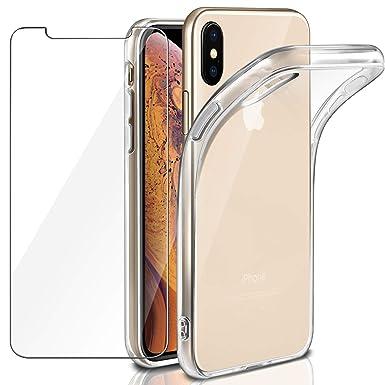 215885a3993 Funda + Cristal para iPhone XS MAX, Leathlux Transparente iPhone XS MAX TPU  Silicona [Funda + ...