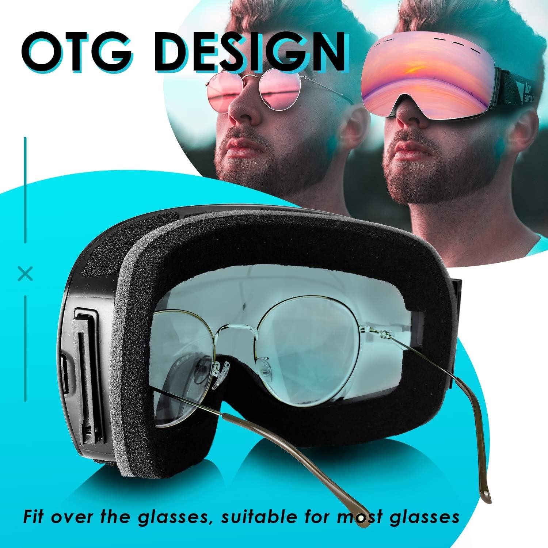 amzdeal Gafas de Esqu/í Gafas Esqu/í Snowboard Doble Capa Anti Niebla 100/% Protecci/ón UV Desmontables Lentes con Correa Antideslizante OTG Gafas de Esquiar para Adultos Hombre Mujer Juventud