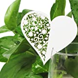 Pack 100 Shimmer Laser Cut White Love Heart Name Place Card - Champagne / Wine Glass Decoration, Wedding Engagement Party Favour, Table Number Decor (100)