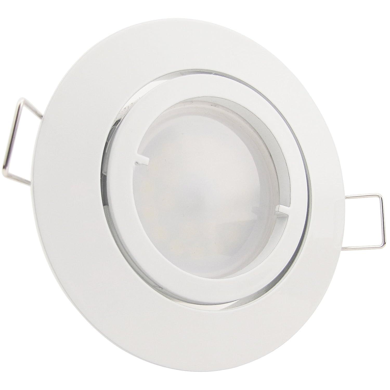 1er-Set LED Einbaustrahler PAGO 230V Farbe: Weiß - inkl. austauschbarem LED-Leuchtmittel in Warm-Weiß Licht-Visionen Deutschland