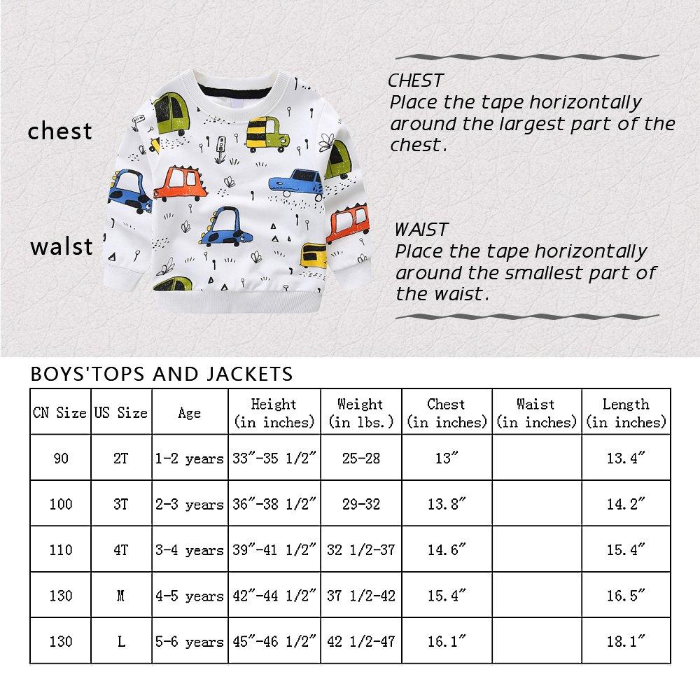 NWAD Boys Car Sweatshirts Light Weight Little Boy Clothes Organic Cotton Crewneck Clothing Long Sleeve Tops (Car Grey, M(5)) by NWAD (Image #8)
