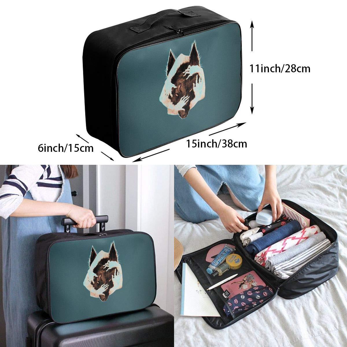 ADGAI Wolf Series 6 Canvas Travel Weekender Bag,Fashion Custom Lightweight Large Capacity Portable Luggage Bag,Suitcase Trolley Bag