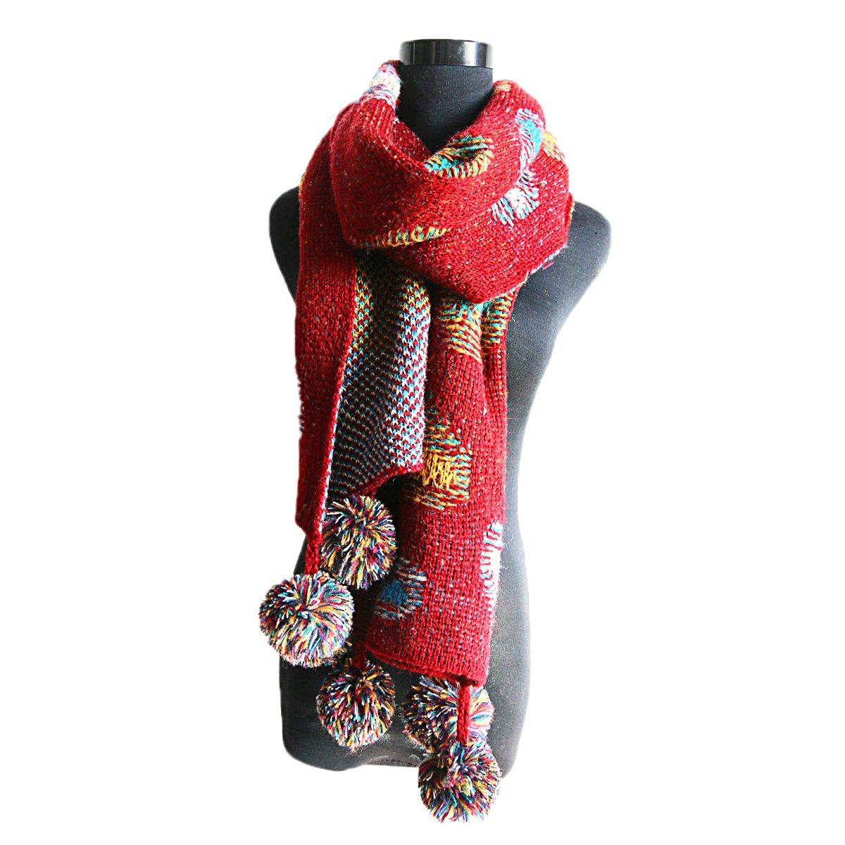 272158d5181e Butterme longue écharpe en tricot pour femme, chaude écharpe d hiver,  foulard à pois coloré, écharpe tubulaire Bohemia avec pompons amovibles,  200 x 36 cm, ...