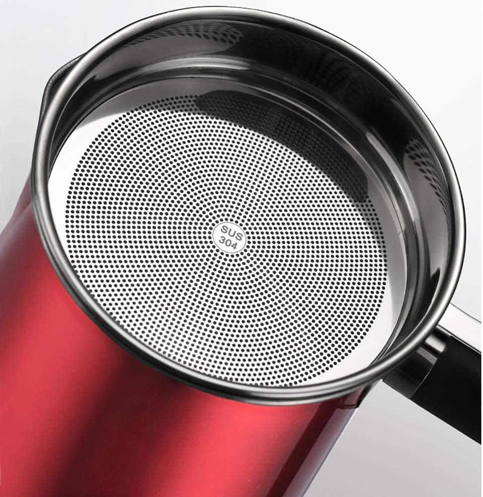 Red Bacon Grease Container,304 Stainless Steel Oil Storage Grease Keeper with Removable Dustproof Lid and Coaster Tray.1.2L