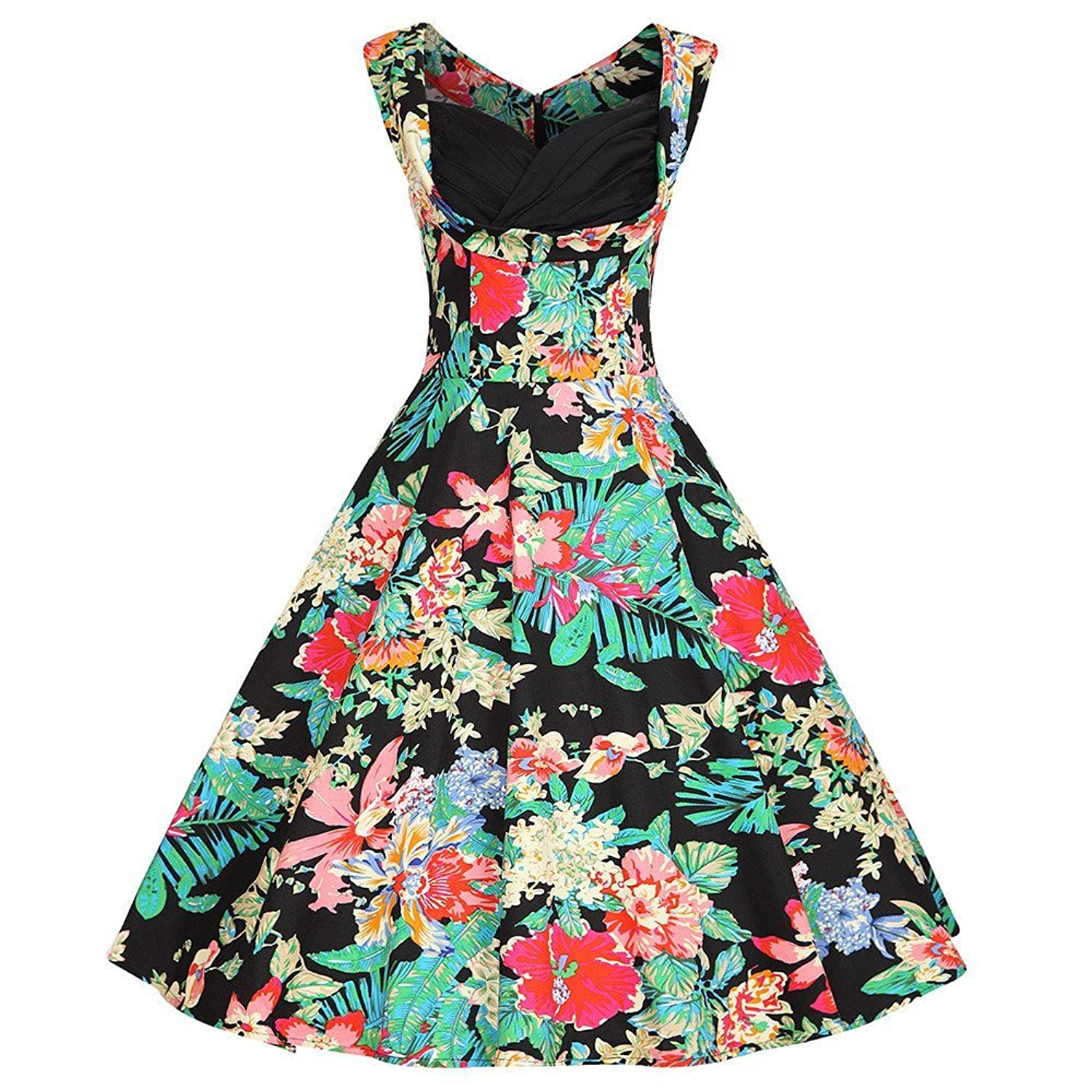 Women's 1950s V Neck Vintage Retro Rockabilly Party Cocktail Swing Dresses(YAZACO)