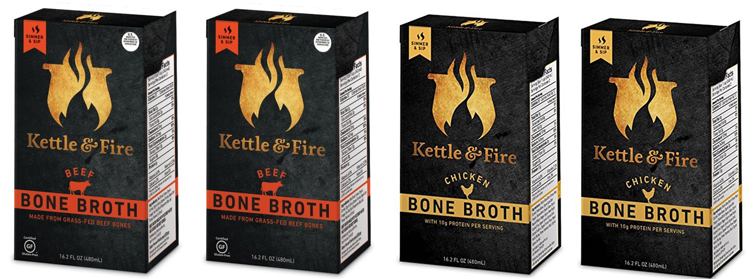 Kettle & Fire - Organic Bone Broth Combo 4 Pack - ( 2 Each Beef and Chicken)