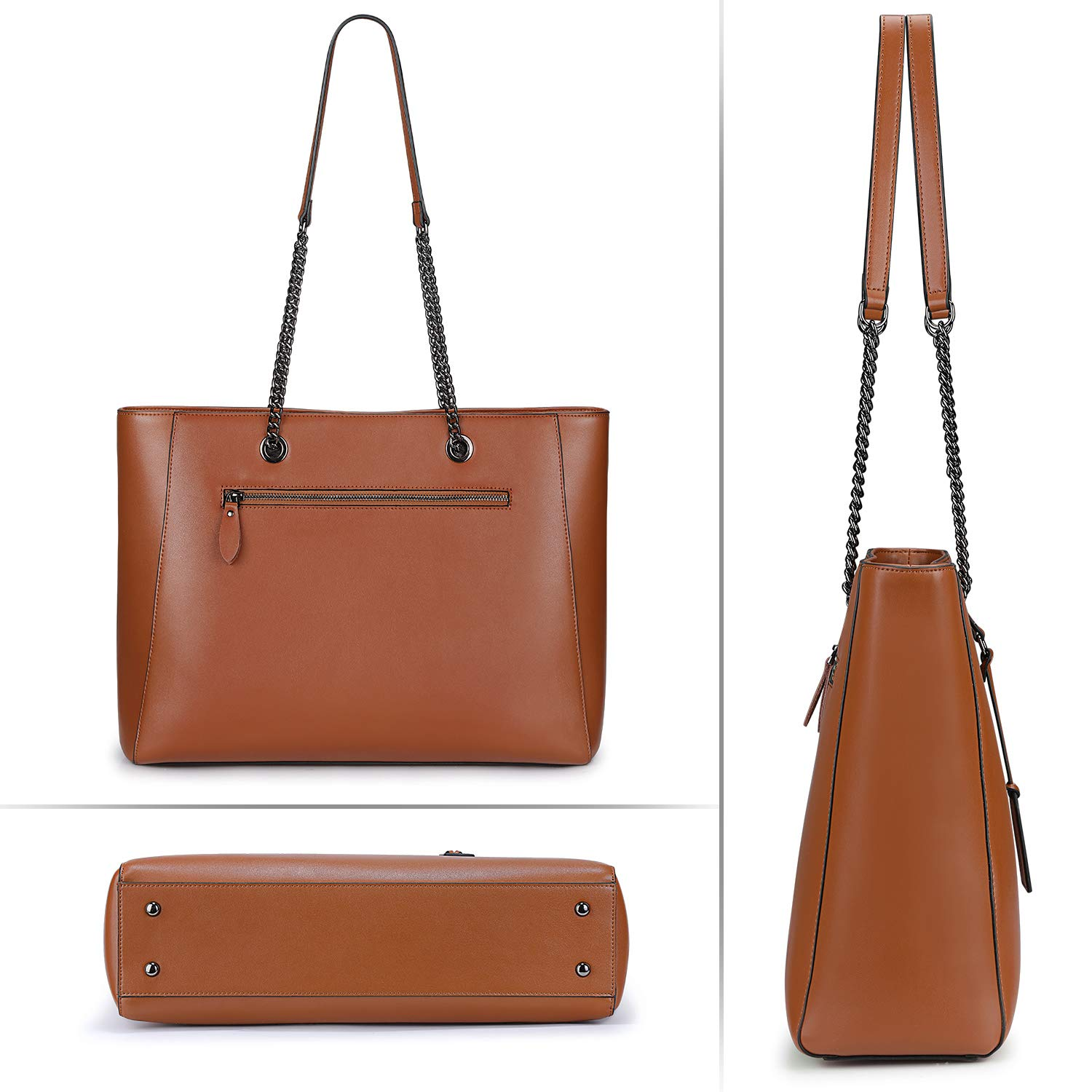 S-ZONE Women Leather Work Tote Bag Shoulder Bag Fit up to 15.6-inch Laptop S-ZONE D10V113A
