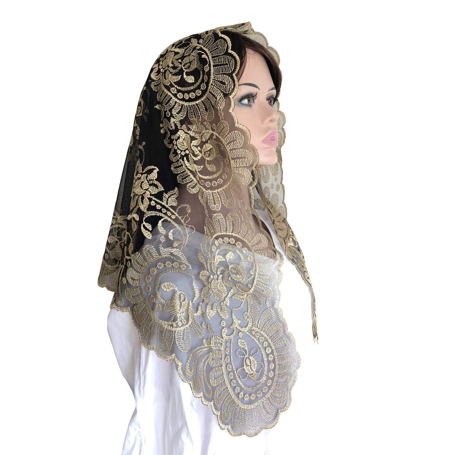 Black and Gold color Embroidery lace Mantilla Catholic church chapel scarf lace Mass