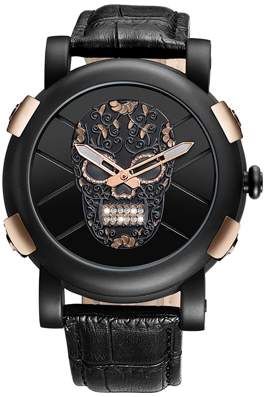 Skoneスチームパンク スケルトン腕時計メンズ ブラック スカル デザイナー クール ユニークファッション クォーツ腕時計5146 B06XYKRVST ブラック