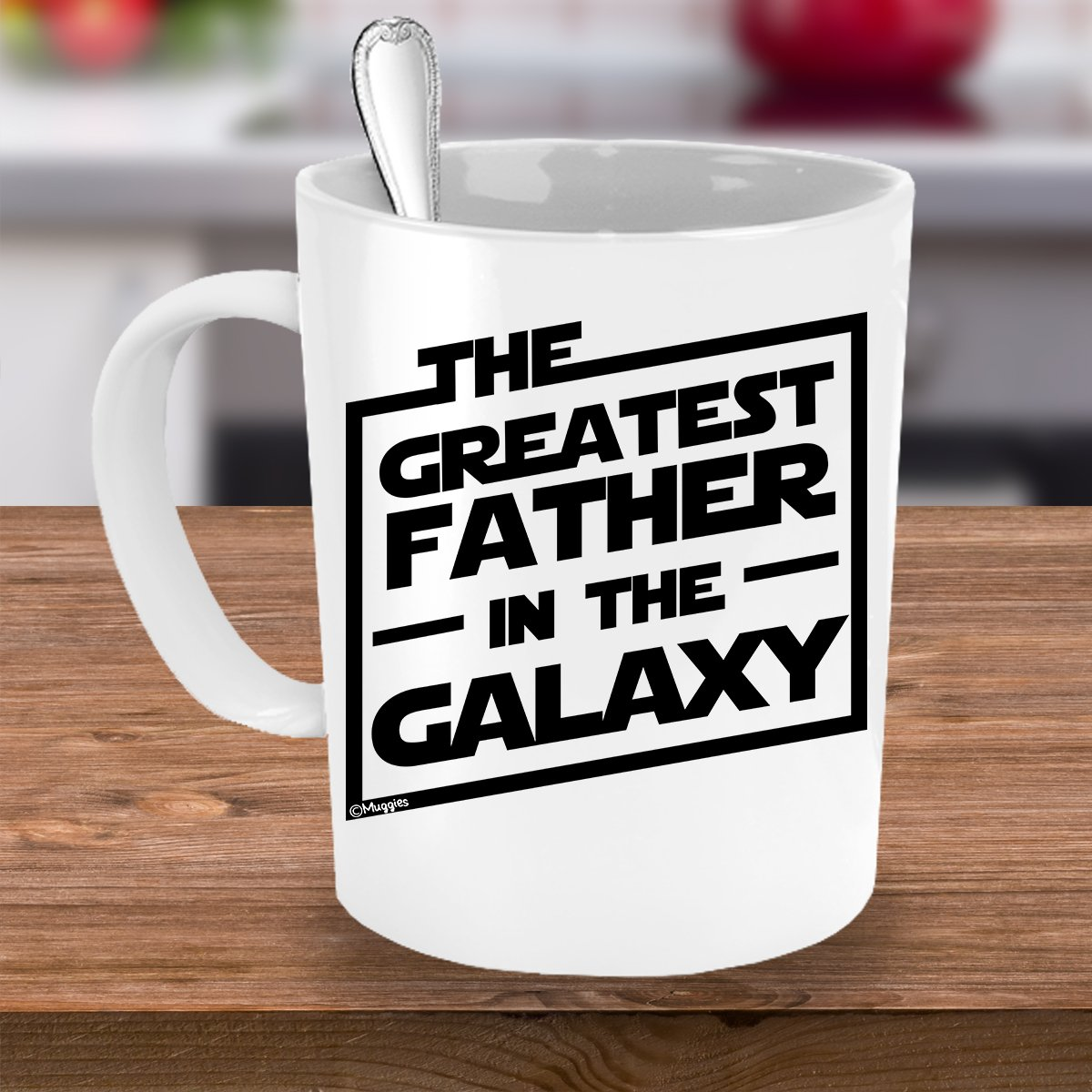 Muggies Greatest Father in The Galaxy 11oz. Coffee Tea Mug. Unique Funny Christmas, Xmas, Birthday, for Him - Super Star Men, Dad, Husband by GENUTRI (Image #2)