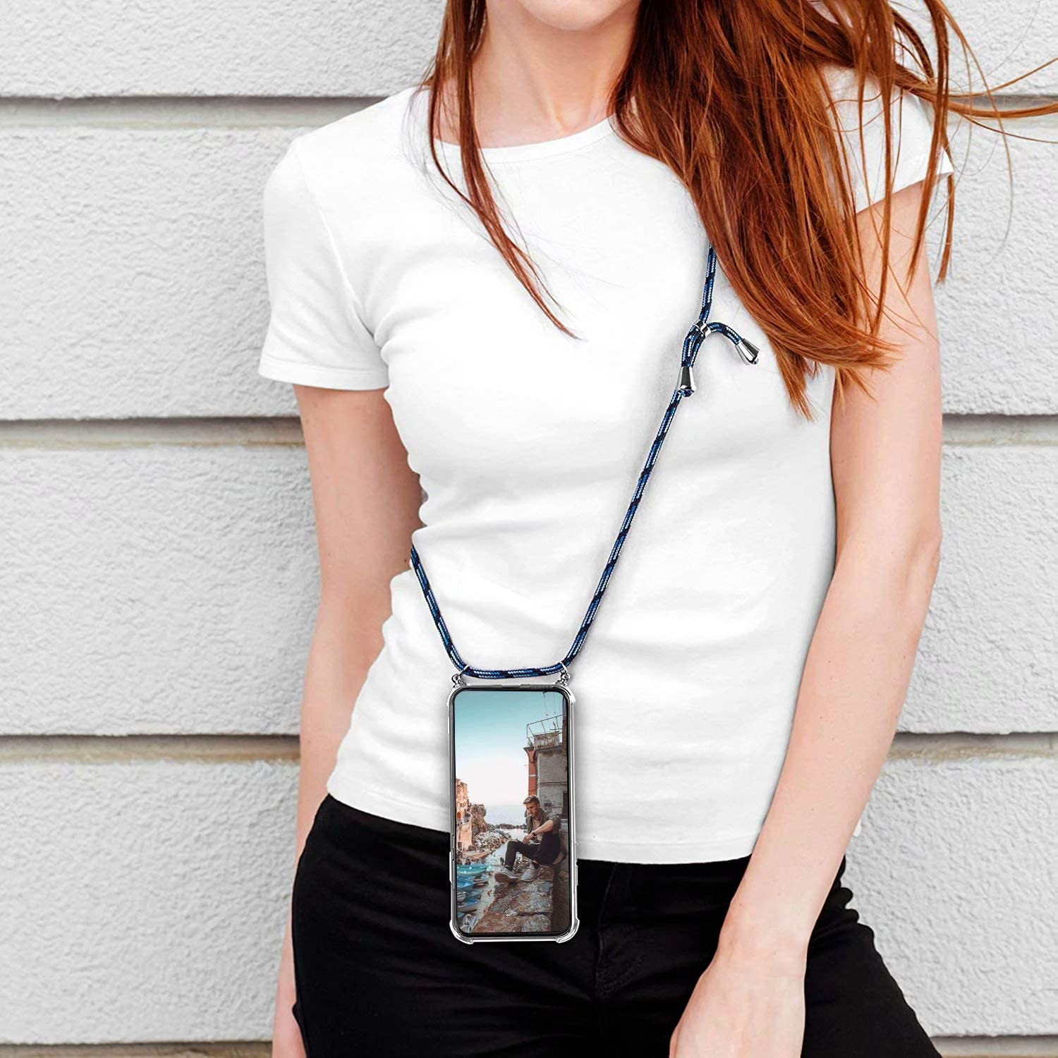 Black blue White FullProtecter Crossbody Case for iPhone 12 Pro//iPhone 12 Max Necklace Mobile Phone Cover with Cord Strap Lanyard Case Holder Mobile Phone Collar