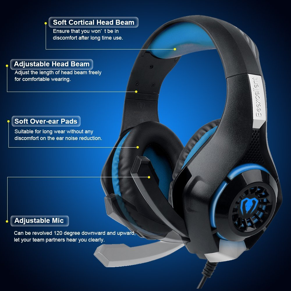 Gaming Headset for PS4 Tezewa Xbox One Gaming Headset PC Gaming Headset Stereo PS4 Headphones with Mic LED Gaming Headphones With Microphone for Xbox One PSP Netendo DS PC Tablet