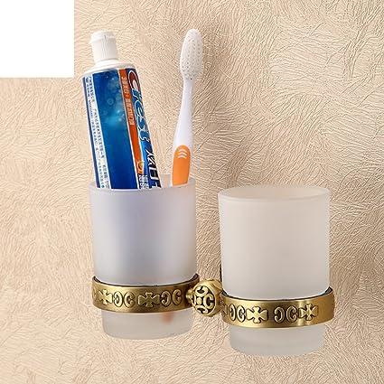 ZWX OIU vidrio esmerilado Copas continentales/Dos tazas de cepillo de dientes titular de la