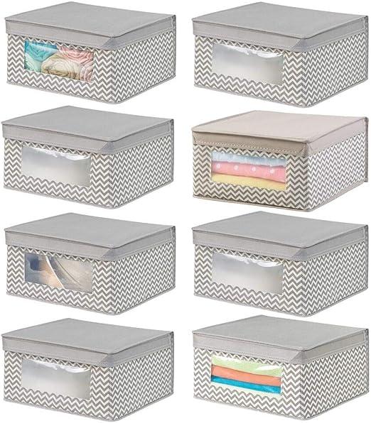mDesign Juego de 8 cajas de tela apilables para guardar ropa y más ...