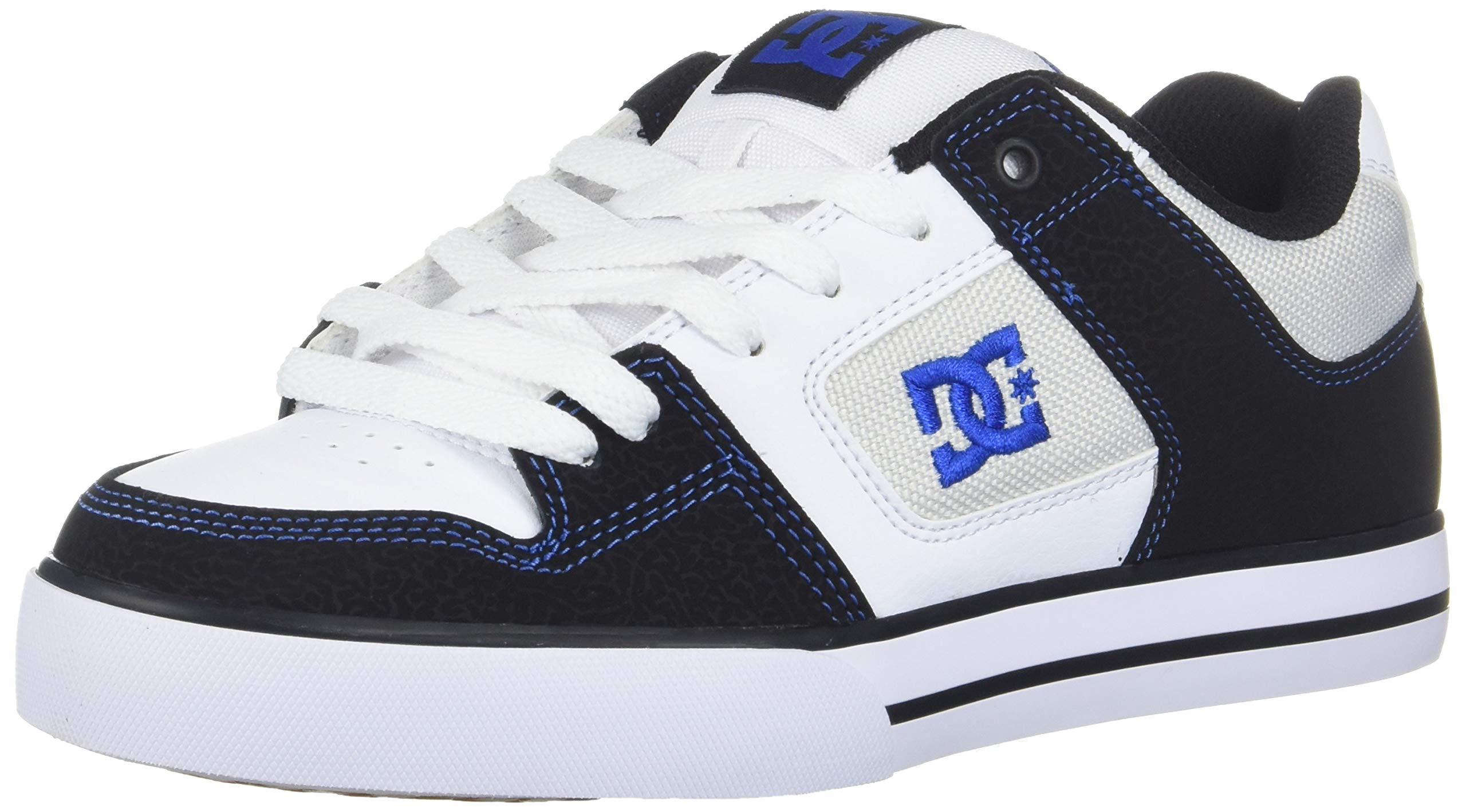 DC Men's Pure Skate Shoe Black/White/Blue 6 D M US