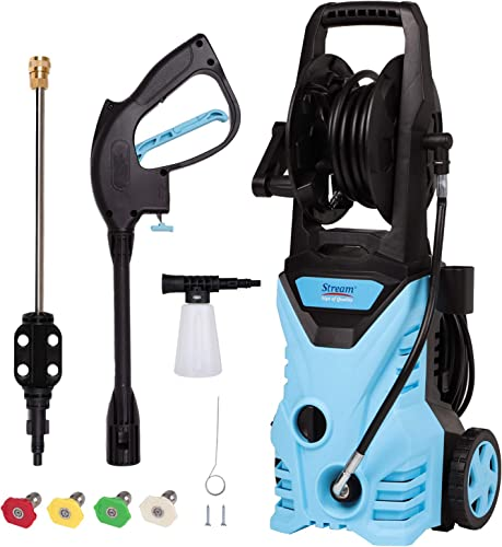 Max. 3000PSI 1.8GPM Electric High Pressure Washer, Power Washer with Spray Gun 4 Nozzle Adapter, Hose Reel, and Detergent Tank for Cleaning Garden Car Patio Yard Driveways