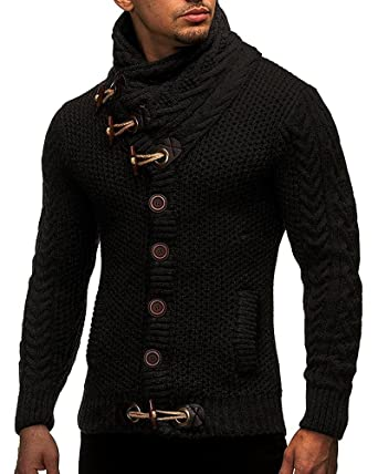 BBalizko Mens Cashmere Sweater Turtleneck Cable Knit Cardigan ...