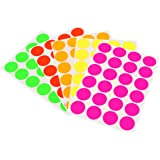 """3/4"""" Round Labels, Assorted Fluorescent Colors Kit (5 Colors) 