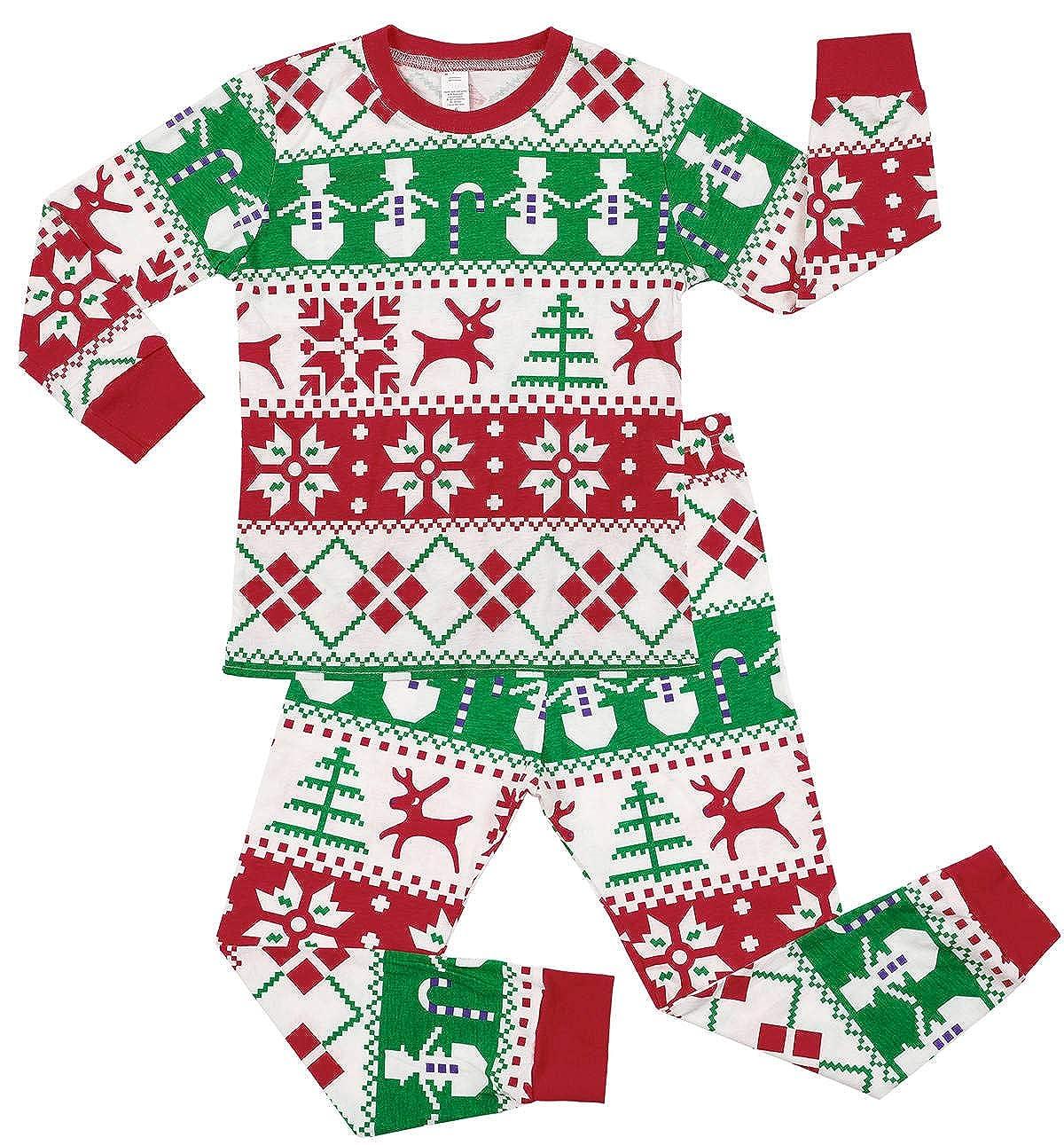 beautyin Kids Cotton Pjs Long Sleeve Pajama Set Christmas Sleepwear Homewear