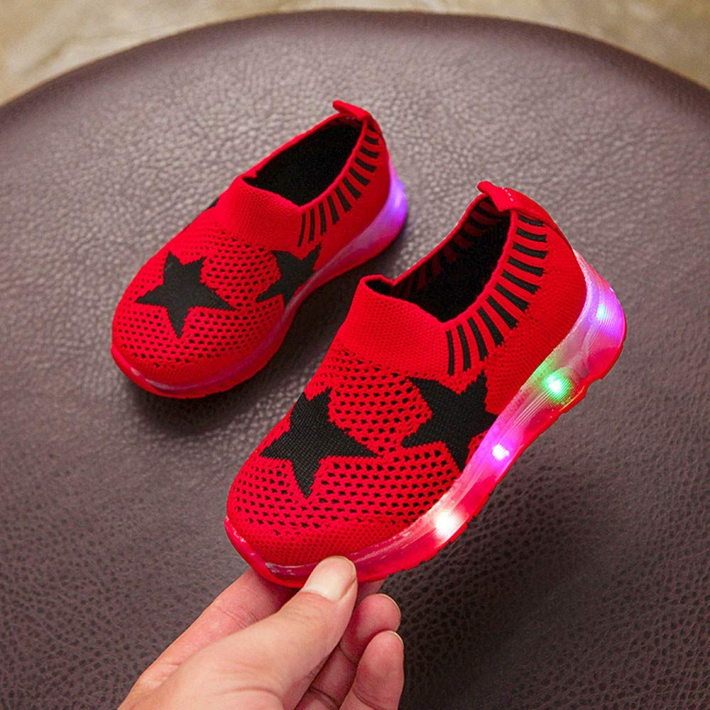 Gooldu Sports Shoes Fashion Toddler Baby Girls Boys Led Light Star Luminous Sport Mesh Breathable Student Casaul Shoes
