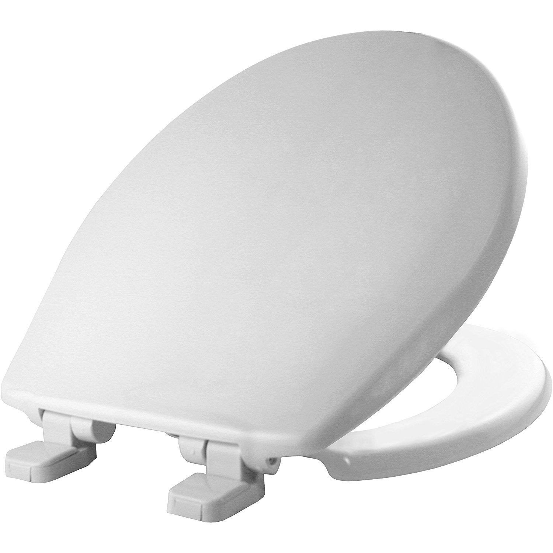 Bemis 80SLOW 000 Round Whisper-Close Plastic Toilet Seat featuring STA-TITE, White