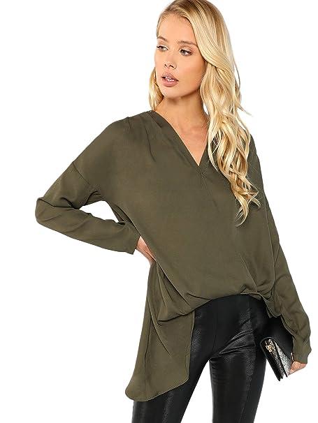7fa5281a9b07b SweatyRocks Women's Causal Blouse Shirt Solid V Neck Warp ...