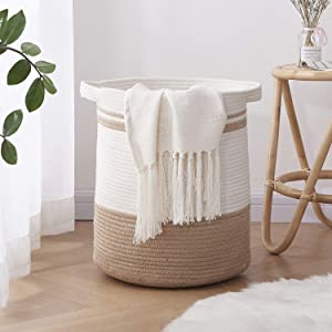 """OIAHOMY Laundry Basket-Cotton Rope Basket Large Storage Basket with Handles,Modern Decorative Woven Basket for Living Room,Storage Baskets for Toys, Throws, Pillows,and Towels -18""""×16""""-White&Yellow"""
