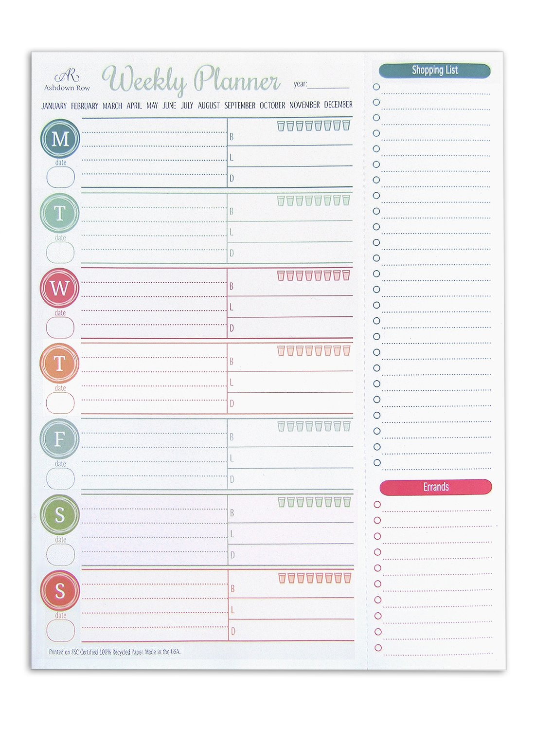"""Ashdown Row Weekly Planner Pad (8.5"""" x 11"""") Recycled Tear-Off Sheets with Perforated Shopping and Errands List, Made in the USA"""
