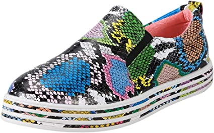 41, Multicolor Ladies Snake Skin Boots Roman Shoes Platform Wedges Sneakers Fashion Women Loafers Casual