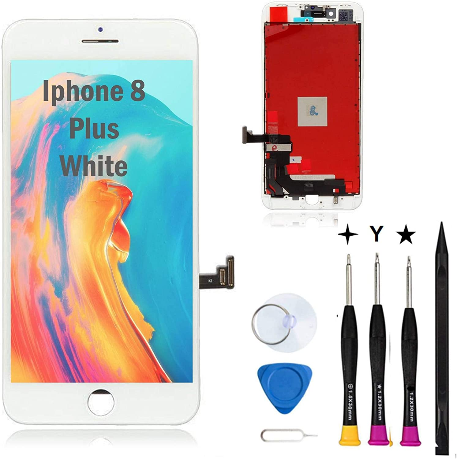 Oli & Ode Screen Replacement for iPhone 8 Plus Screen Replacement iPhone 8 Plus Replacement Screen iPhone 8 Plus LCD Screen Replacement Kit Touch LCD Digitizer Assembly 3D Touch A1864/A1897/A1898
