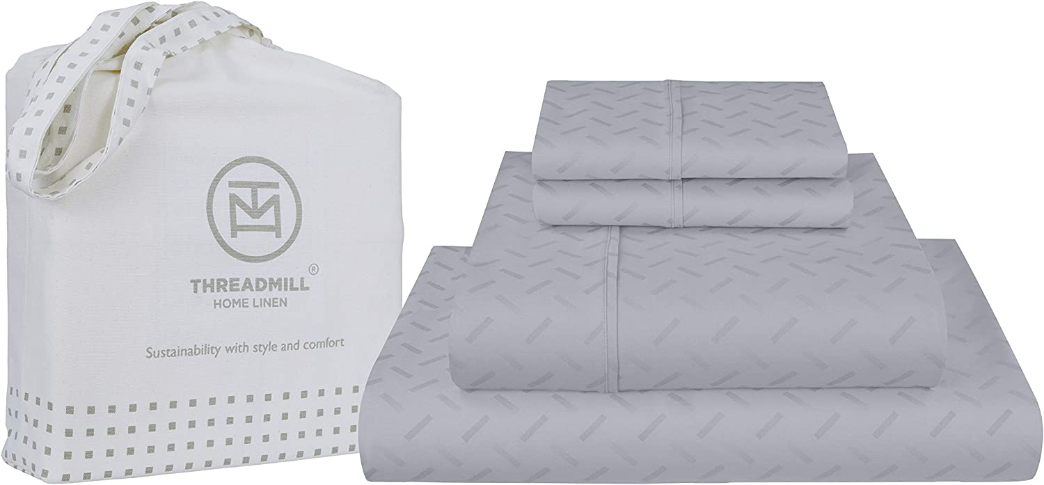 Threadmill Home Linen Twin-XL Sheet-Set - Pure Long Staple Cotton, Astra Jacquard Damask Weave, 3 Piece 300 Thread Count Bedding Set, Soft Silver Sheets with Elasticized Deep Pocket