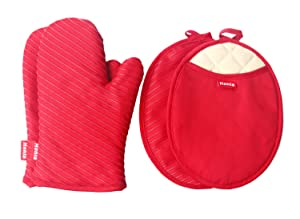 Honla Pot Holders and Oven Mitts/Gloves with Silicone Printed - 2 Hot Pads and 2 Potholders Set,4-Piece Heat Resistant Kitchen Linens Set for Cooking,Baking,Grilling,Barbecue,Red