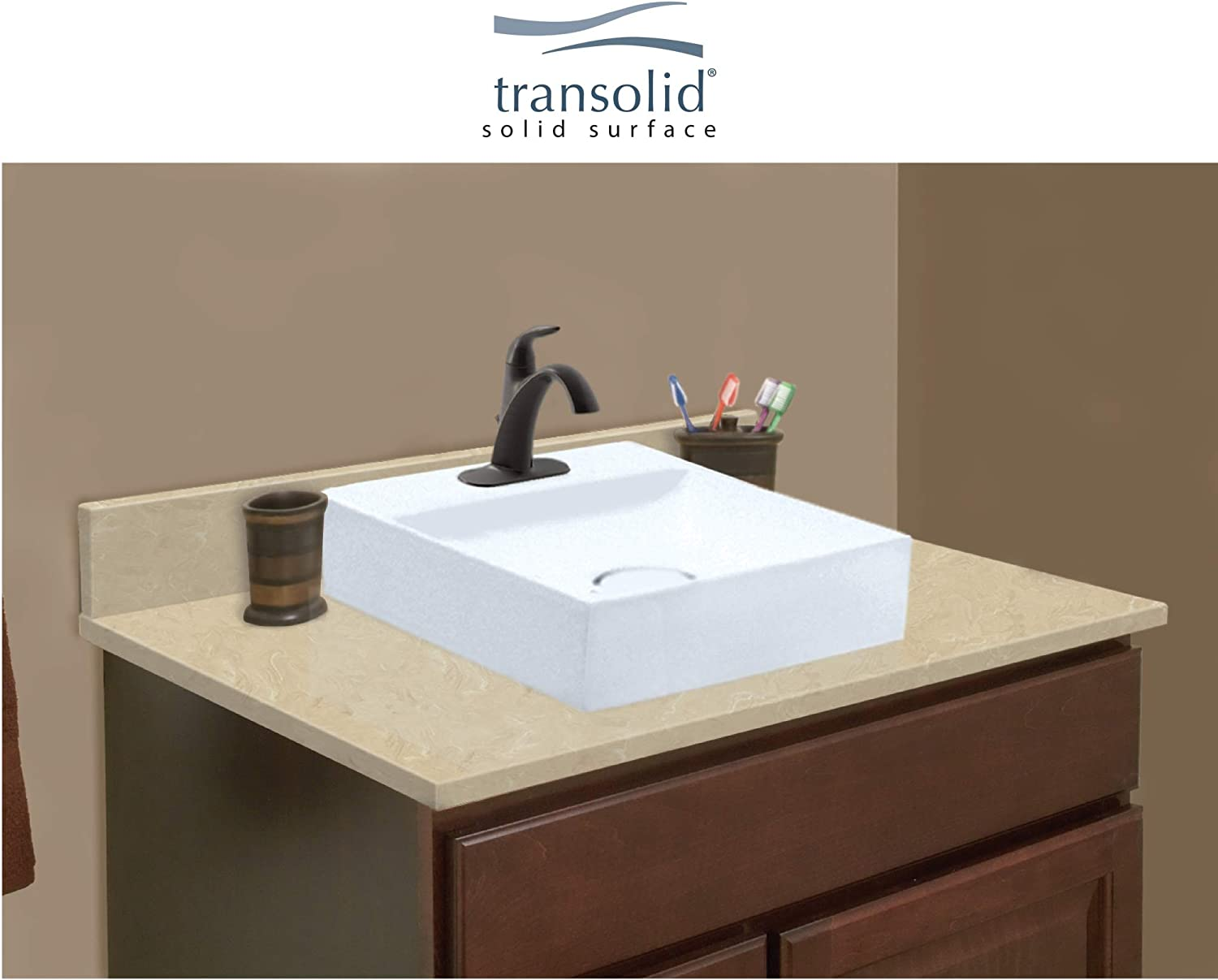 Transolid Vt28 25x22 1sv 96 A W 4 28 25 In D Solid Surface Vanity Top With 4 In Centerset And Square Vessel Sink L X 22 25 D Almond Sky Amazon Com