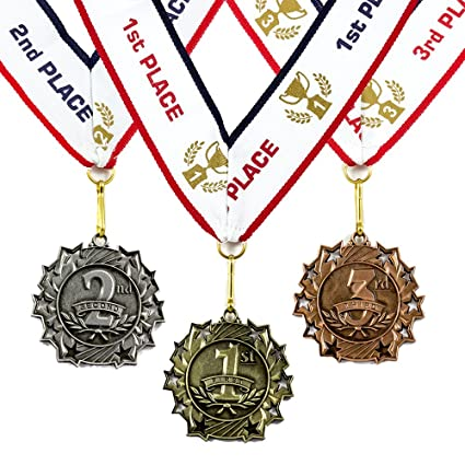 2ad44aab552 Amazon.com   1st 2nd 3rd Place Ten Star Award Medals - 3 Piece Set (Gold