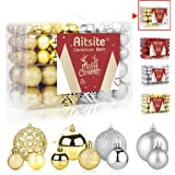 Aitsite 100 Pack Christmas Tree Ornaments Set Mini Shatterproof Holiday Ornaments Balls for Christmas Decorations (Silver & G