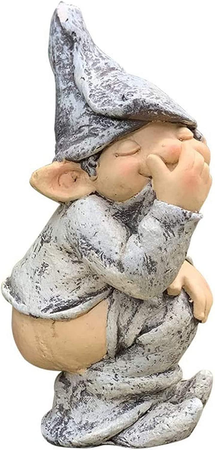 WEIZI Naked Buttocks gnome Statue Whimsical Garden gnome Figure Hand-Painted Cheeky gnome Sculpture for Outdoor Lawn Terrace Interesting Gift Gray 18x22x40cm (7x9x16inch)