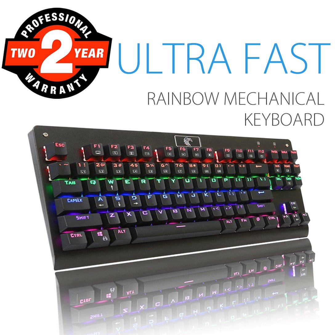 Rainbow Mechanical Keyboard, Aitalk Waterproof 104-Key No Conflict Gaming Keyboard with DIY Blue Switches Detachable USB Wired Backlit Keyboard for Mac PC Laptop Gamers - Black Z88-104-HG-US-Black