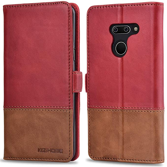 1ab5961bbd4c KEZiHOME LG G8 ThinQ Wallet Case, LG G8 Case, [RFID Blocking] Genuine  Leather Color Matching Wallet with Kickstand [Card Slot] [Magnetic Clasp]  Phone ...