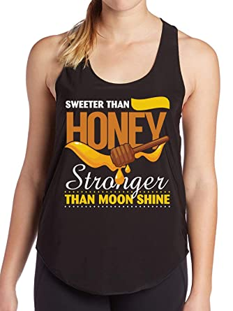07982f8c5bb030 Doryti Sweeter Than Honey Stronger Than Moon Shine Birthday Gift Funny  Women s Tank - top tee at Amazon Women s Clothing store