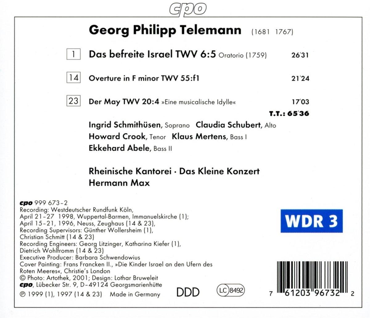Telemann - Das befreite Israel / Hermann Max by CPO