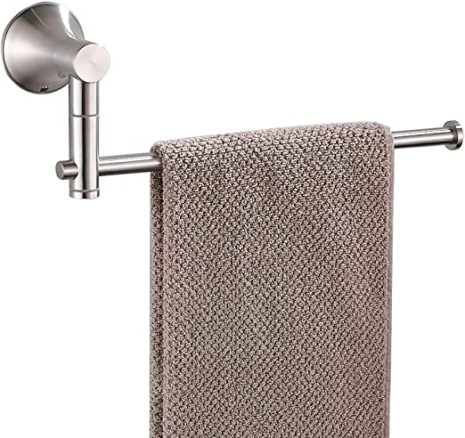 Amazon Com Besy Sus304 Stainless Steel Single Hand Towel Bar 10 Inch With Swing Out Arm Hotel Style Towel Holder Ring For Bathroom And Kitchen 360 Degree Rotate Wall Mounted With Screws Brushed