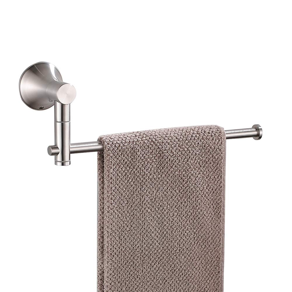 BESy SUS304 Stainless Steel Single Hand Towel Bar 10 Inch with Swing Out Arm, Hotel Style Towel Holder Ring for Bathroom and Kitchen, 360 Degree Rotate, Wall Mounted with Screws, Brushed Nickel Finish by BESy