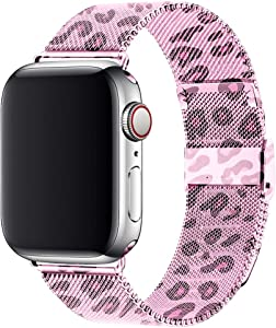 Wolait Stainless Steel Mesh Sport Loop Replacement Band Compatible with Apple Watch 44mm 42mm Series 6 5 4 3 2 1 SE (Pink Leopard, 42mm/44mm)